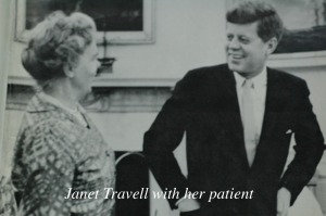 Janet Travell with JFK standing together in Oval Office